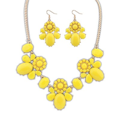 Nautical Yellow Sweet Flower Decorated Design Alloy Jewelry Sets