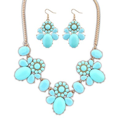 Pleated Blue Sweet Flower Decorated Design Alloy Jewelry Sets
