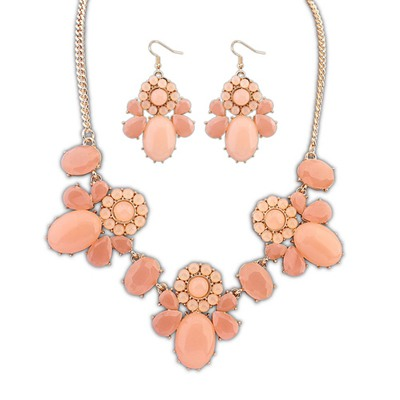 2011 Pink Sweet Flower Decorated Design Alloy Jewelry Sets