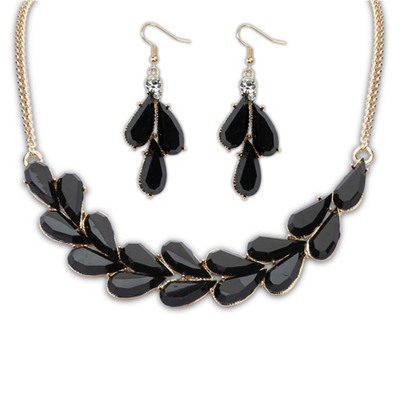 Puritan Black Water Drop Simple Design Alloy Jewelry Sets