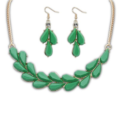Rolling Green Water Drop Simple Design Alloy Jewelry Sets