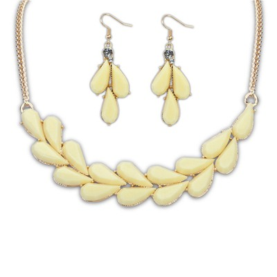 Korean Beige Water Drop Simple Design Alloy Jewelry Sets