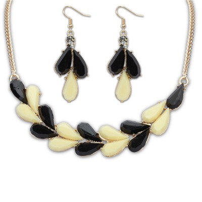 Special Black And Beige Water Drop Simple Design Alloy Jewelry Sets