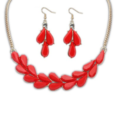 Hiphop Red Water Drop Simple Design Alloy Jewelry Sets