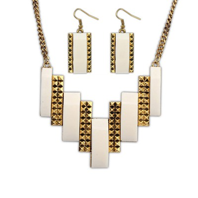 Arrowhead Beige Geometric Double Color Design Alloy Jewelry Sets