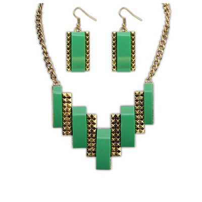 Local Green Geometric Double Color Design Alloy Jewelry Sets