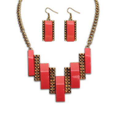 Embossed Red Geometric Double Color Design Alloy Jewelry Sets