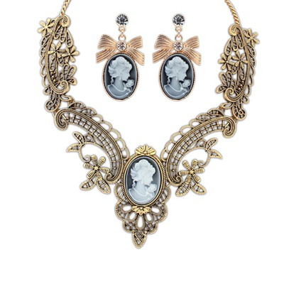 Funeral Antique Gold Lady Pattern Design Alloy Jewelry Sets