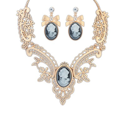 2013 Kc Gold Color Lady Pattern Design Alloy Jewelry Sets