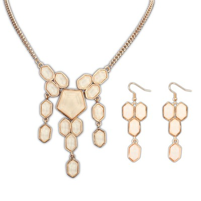Short Beige Geometric Simple Design Alloy Jewelry Sets