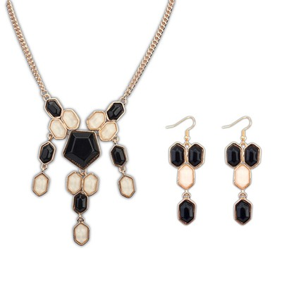 Graduated Black And Beige Geometric Simple Design Alloy Jewelry Sets