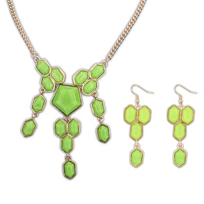 Stationery Green Geometric Simple Design Alloy Jewelry Sets