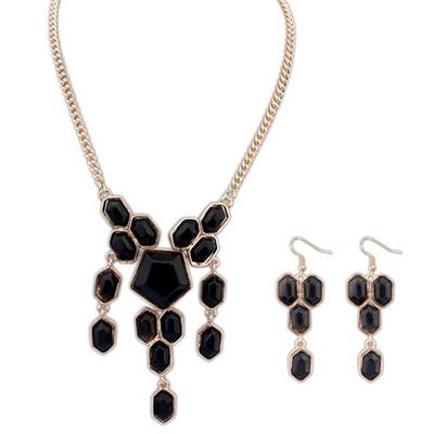 Funny Black Geometric Simple Design Alloy Jewelry Sets