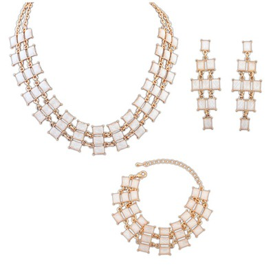 Summer Beige Multilayer Square Design Alloy Jewelry Sets