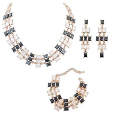 Short Black And Beige Multilayer Square Design Alloy Jewelry Sets