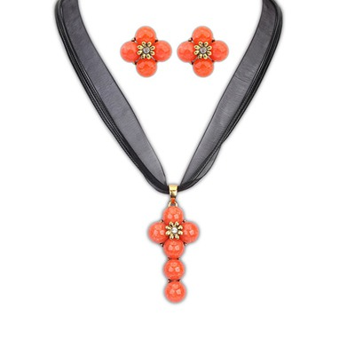 Street Orange Cross Shape Simple Design Alloy Jewelry Sets