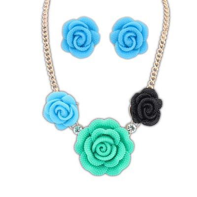 Hiphop Multicolor Rose Shape Design Alloy Jewelry Sets