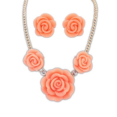 Montgomery Watermelon Red Rose Shape Design Alloy Jewelry Sets