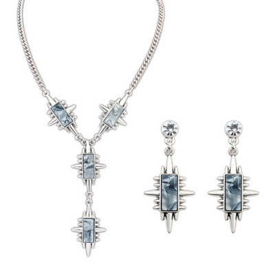 Luxurious Gray Geometric Shape Rivet Design Alloy Jewelry Sets