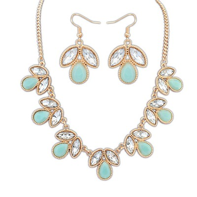 Connor Light Green Geometric Shape Gemstone Decorated Alloy Jewelry Sets