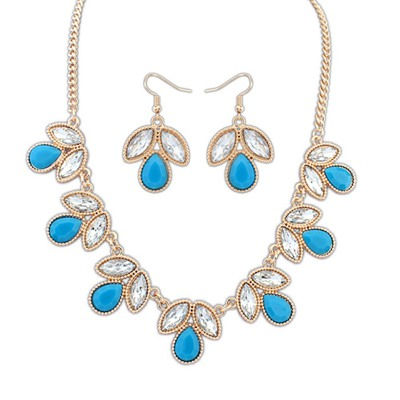 New Blue Geometric Shape Gemstone Decorated Alloy Jewelry Sets