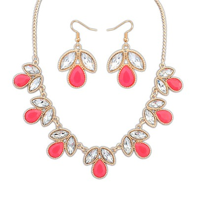 Printable Plum Red Geometric Shape Gemstone Decorated Alloy Jewelry Sets