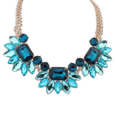 Punk Blue Gemstone Decorated Design Alloy Bib Necklaces