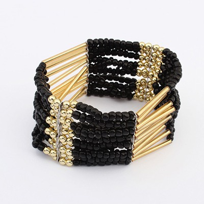 Chic Black Multilayer Weave Bead Design Alloy Korean Fashion Bracelet