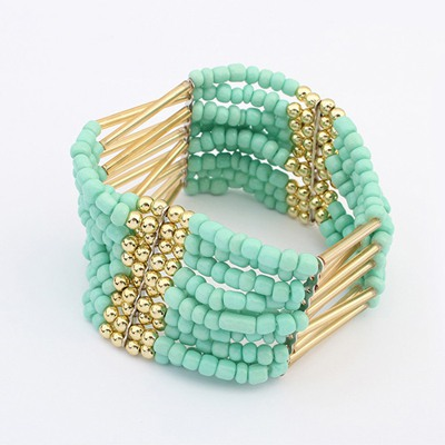 Pendants Light Blue Multilayer Weave Bead Design Alloy Korean Fashion Bracelet