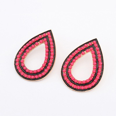 Special Plum Red Water Drop Design Alloy Stud Earrings