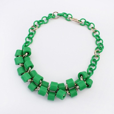 Chic Green Double Layer Geometric Design Ccb Bib Necklaces