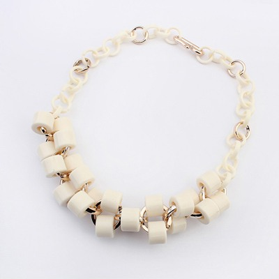 Evil Beige Double Layer Geometric Design Ccb Bib Necklaces
