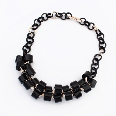 Hunting Black Double Layer Geometric Design Ccb Bib Necklaces