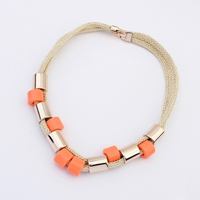 Detachable Orange Double Layer Simple Design Ccb Bib Necklaces