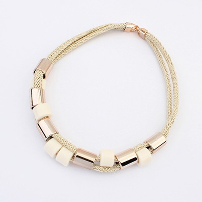 Winding Beige Double Layer Simple Design Ccb Bib Necklaces