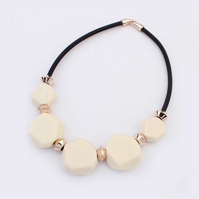 Coast Beige Five Beads Geometric Design Ccb Bib Necklaces