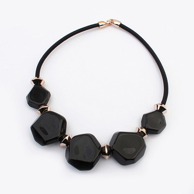 Physical Black Five Beads Geometric Design Ccb Bib Necklaces