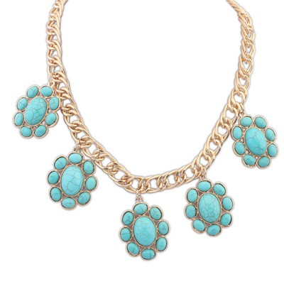 Rasta Light Blue Five Oval Gemstone Design Alloy Bib Necklaces