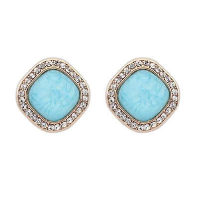 Mink Light Blue Square Shape Simple Design Alloy Stud Earrings