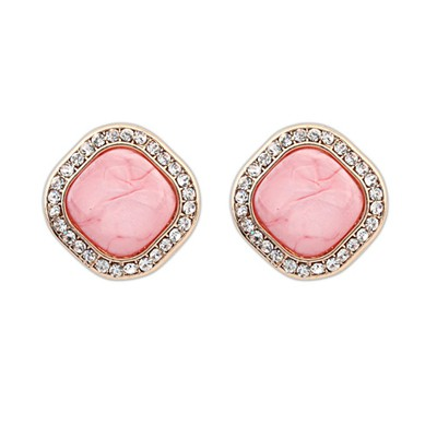 Liquid Pink Square Shape Simple Design Alloy Stud Earrings