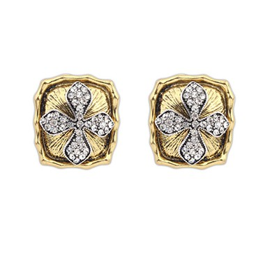 Writing Antique Gold Square Shape Cross Decorated Alloy Stud Earrings