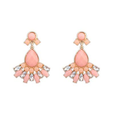 Trendy Pink Geometric Shape Pendant Design Alloy Korean Earrings