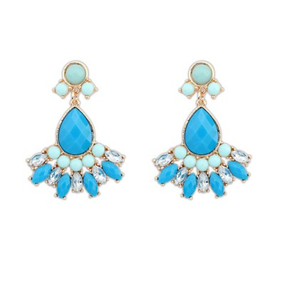 Infant Blue Geometric Shape Pendant Design Alloy Korean Earrings