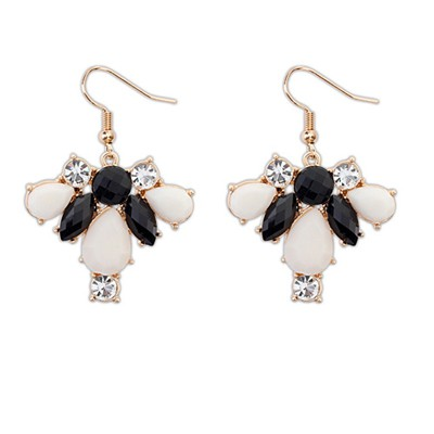 Cranes Black And White Geometric Shape Pendant Design Alloy Korean Earrings