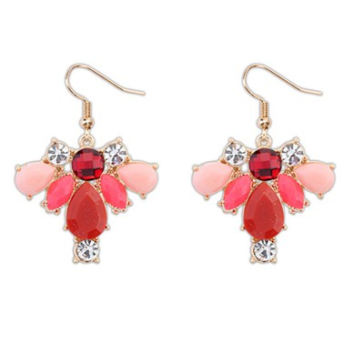 Homecoming Red Geometric Shape Pendant Design Alloy Korean Earrings