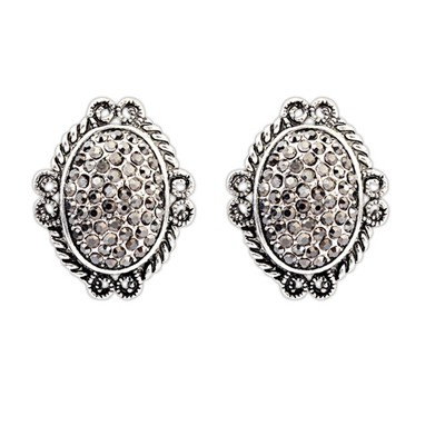 Timeless Black Vintage Oval Shape Design Alloy Stud Earrings