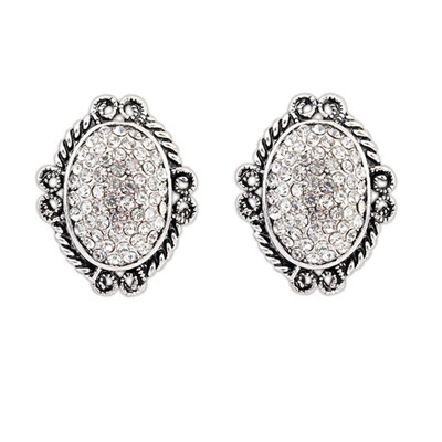 Elastic White Vintage Oval Shape Design Alloy Stud Earrings