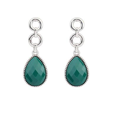 Single Green Water Drop Simple Design Alloy Korean Earrings