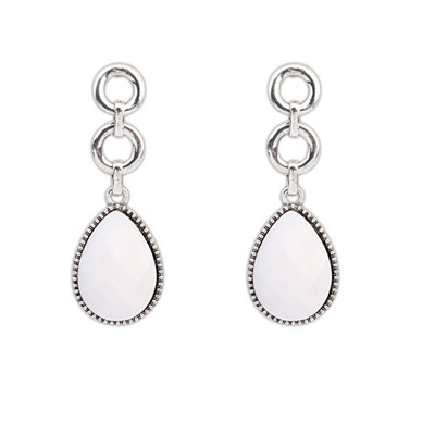 Roll Beige Water Drop Simple Design Alloy Korean Earrings