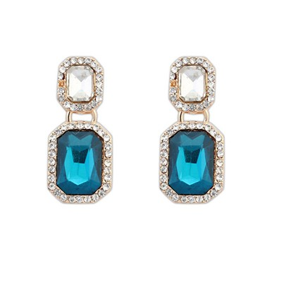Human Sapphire Square With Diamond Design Alloy Korean Earrings